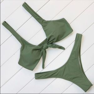 Other - Olive Green Tie Front Cheeky Bikini
